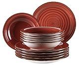 Mäser, Serie Bel Tempo, Teller-Set aus Steingut, 12-teilig für 6 Personen, Tafelservice Vintage, handbemalt, rot