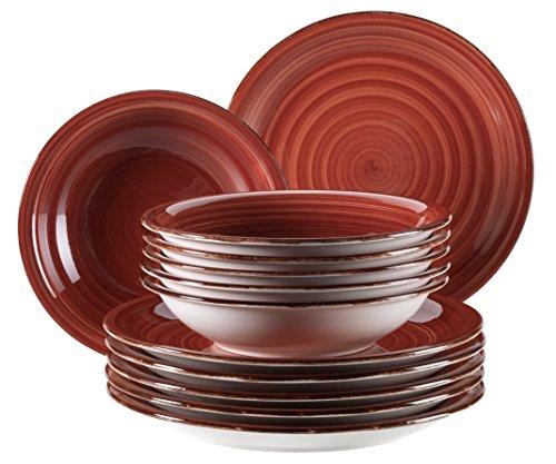 mpo, Teller-Set aus Steingut, 12-teilig für 6 Personen, Tafelservice Vintage, handbemalt, rot ()