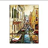 Knncch Retro Venecia Paisaje Pinturas Sala De Estar Nostálgico Arte De La Pared Impresiones Clásicos Europeos Posters Pasillo Decortion Lienzo Imagen