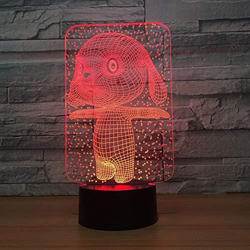 Coniglio coniglio lampada 3d bella lampada da notte a led a 7 colori per bambini Touch led Usb Table Nightlight Sleeping Ship