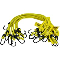 "10 pack Heavy Duty Elastic Military Bungee Cords Basha Bivvy Bivi Luggage Caravan Camping - Savage Island Branded (Yellow, 18"")"