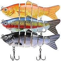TRUSCEND Leurres de pêche brochet avec 2 Crochets articulé leurre Peche carnassier pour brochet, Perche, Truite