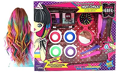 Fashion Girl Styling Temporary Hair Chalk Set - Chalk Your Hair   Dye Hair Color without Glove with Glittering Eye Shadow Comb Mirror Accessories