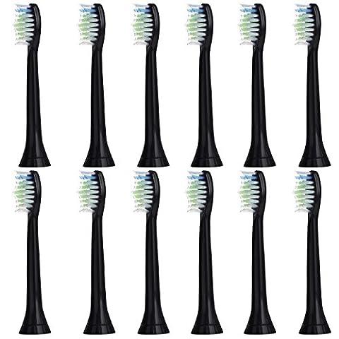 12 stk (3x4) E-Cron® Aufsteckbürsten. Philips Sonicare DiamondClean Black Ersatz (Schwarz). Voll Kompatibel zu den folgenden elektrischen Zahnbürstenmodellen von Philips: DiamondClean, FlexCare, FlexCare Platinum, FlexCare(+), HealthyWhite, 2 Series, EasyClean and PowerUp.