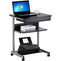 Yaheetech Bureau d'Ordinateur Portable Roulant Table Informatique Poste de Travail Noir avec 1 Tiroir et 2 Etagères, 56…