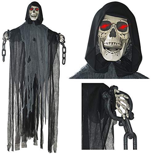 rter hängender Grim Reaper mit Schädel und Kettenfesseln für die gruseligste Dekoration zu Halloween ()