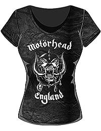 Rockoff Trade Damen T-Shirt England Acid Wash, Schwarz