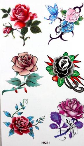Tatuaggi temporanei uomini apposti spestyle impermeabile tatuaggio temporaneo non tossico stickerswaterproof e donne sexy moda varietà di rose