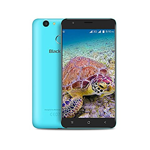 Smartphone ohne Vertrag, Blackview E7S 3G Android 7.0 Dual SIM Handy Smartphone with 5.5 Inch HD IPS Display 2.5D Arc Screen - MT6580A Quad Core 1.3GHz - 2GB RAM + 16GB ROM - 2MP + 8MP Camera - 2700mAh Fingerprint Smartphone - Blau