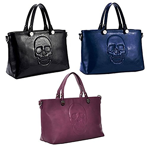 Mechaly, Borsa tote donna Black, Blue & Purple Satchel