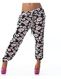 Jela London Leichte Damen Sommerhose Freizeithose mit Eingrifftaschen Bunt in verschiedenen Mustern Haremshose Pluderhose