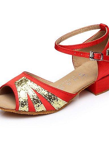 ShangYi Chaussures de danse ( Noir / Bleu / Rouge ) - Non Personnalisables - Talon Bottier - Flocage - Ventre / Latine / Salsa Blue