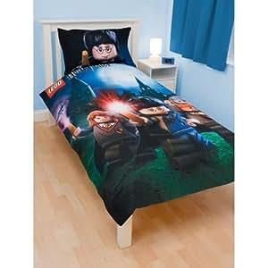 Parure linge de lit housse de couette taie d oreiller lego harry potter hogwarts 1 personne - Parure de lit harry potter ...