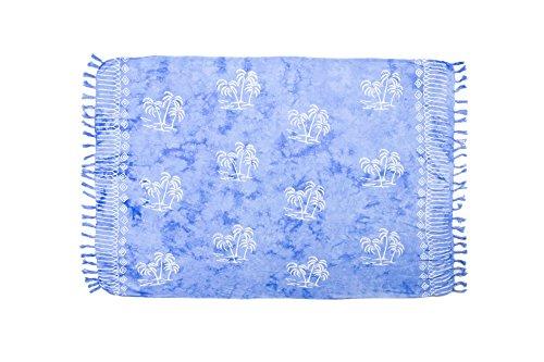 ManuMar Damen Sarong | Pareo Strandtuch | Leichtes Wickeltuch mit Fransen-Quasten 155x115cm oder 225x115cm, Motive und Farben hell-blau Palme