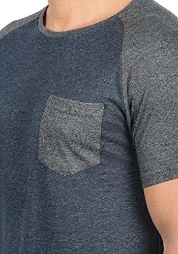 Indicode Gresham Herren T-Shirt Kurzarm Shirt Rundhalsausschnitt Brusttasche Aus Hochwertiger Baumwollmischung Meliert Navy Mix 420