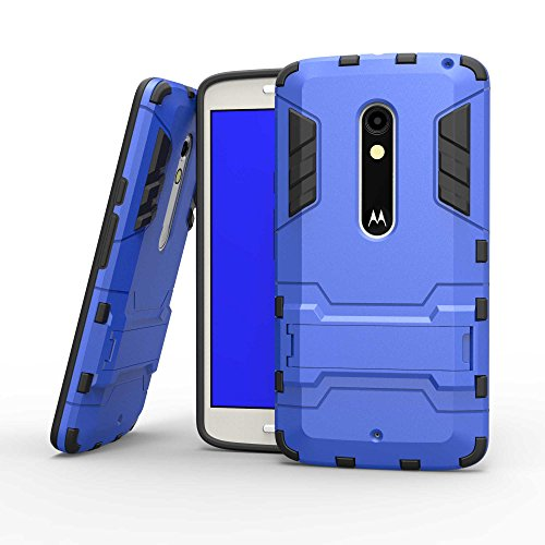 Tasche für Motorola Moto X Play Hülle, Ycloud das stärkste Telefon Shock Proof Armor Dual Schutzabdeckung Hochfeste PC Kunststoffoberschale Shockproof mit Halterung Schutzabdeckung Blau