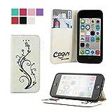 COOVY Étui pour Apple iPhone 5c Coque, boîte de Carte de crédit, Fermeture aimantée Station Debout, écran de Protection   Flower   Couleur Blanc