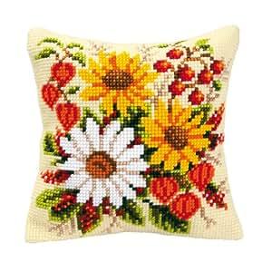 """Vervaco, Kit per cuscino ricamato a punto croce """"Bouquet di fiori"""""""