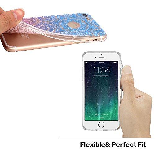 iPhone 7 Plus Case / iPhone 8 Plus Case, Walmark Beautiful Clear TPU Soft Case Rubber Silicone Skin Cover for iPhone 7 Plus / iPhone 8 Plus 5.5 inch - Blue Purple Triba Henna