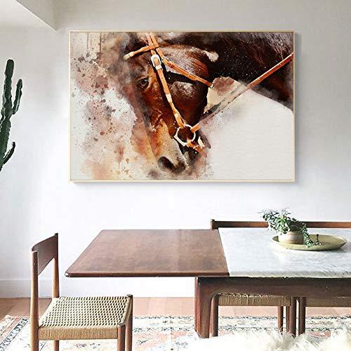 RTCKF Moderna Eleganza Astratta e Bellissimo Cavallo Pittura a Olio su Tela Wall Art Soggiorno Pittura Decorativa (Senza Cornice) A6 70x100cm