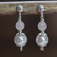 Perlen-Ohrringe mit facettiertem Rosenquarz und 925 Sterling Silber oder Chirurgenstahl-Steckern / auch mit Ohrclips oder Klapphaken