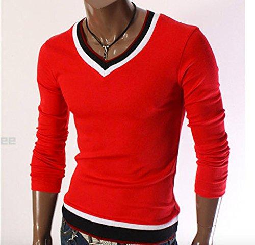 Elonglin Herren Freizeit lässig Langarmshirt V-Ausschnitt Kontrastfarbe Rot