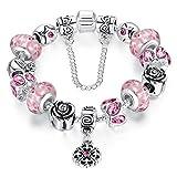 A TE® Bracciale Charms Vetro Beads Cristalli Catena di Sicurezza #JW-B170 (Rosa-18cm)