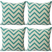 Luxbon Conjunto de 4 Fundas Cojín Almohada Lino Duradero Rayado Verde Decorativos para Sofá Cama Coche 45x45 cm