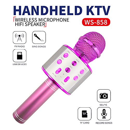 Wiwi Micrófono de Karaoke para niños, Máquina Cantante Micrófono de niña Fiesta Familiar Regalo Chica niño Niño Niño 5-13 años Regalo de niña Micrófono inalámbrico Bluetooth Micrófono Rosado