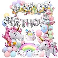 MMTX Unicorn Birthday Balloons Party Decoration for Girls lady,Huge 3D Unicorn Balloons Unicorn Cake Toppers Macaron Party Balloon Triangle Banner for Birthday Shower Party Festival Decoration(83 pcs)