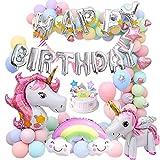 MMTX Decorazioni Feste Unicorno per Donna Ragazza Festa di Compleanno,3D Unicorno Palloncini Cake Toppers Macaron Palloncini Triangolo Bandiera per Compleanno Festa della Doccia Festival Decorazioni
