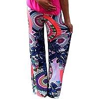 Moollyfox Donne Pantalone Casuali Confortevole Lunghe Gambe Larghi Harem Pantaloni Stampati Multicolored Come Immagine M