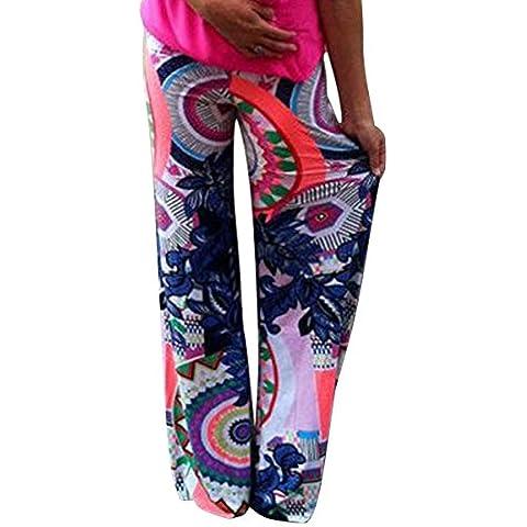 Moollyfox Donne Pantalone Casuali Confortevole Lunghe Gambe Larghi Harem Pantaloni Stampati Multicolored Come Immagine Xl