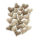 Weddix Sisalherzen als Streudeko - Tischdeko Hochzeit, romantische Deko Herzen für Valentinstag, Liebeserklärung und Heiratsantrag, creme, beige