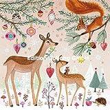 Mila Marquis Postkarte 140x140mm ~ Rehe, Eichhörnchen, Igel ~ Weihnachten