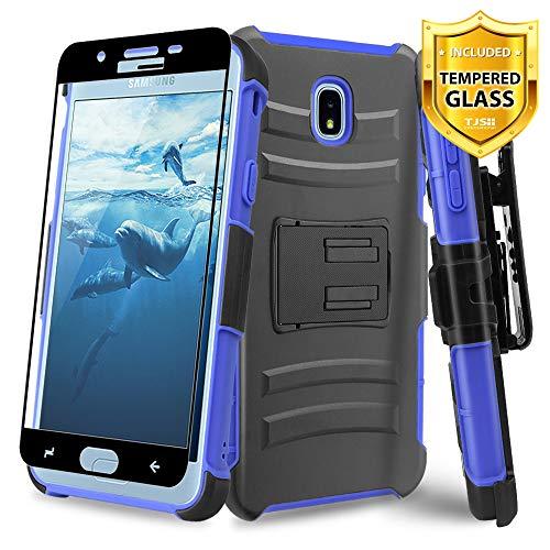 A/v-ständer Glas (TJS Schutzhülle für Samsung Galaxy J7 2018/J7 Refine/J7 Star/J7 Aero/J7 V 2018, mit Displayschutzfolie aus gehärtetem Glas, Gürtelclip, stoßdämpfend, mit Ständer, blau)