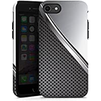Apple iPhone 8 Hülle Tough Case Schutzhülle Carbon Metall Look