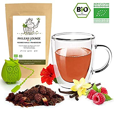 Rooibos Vanille Framboise Bio - Rooibos Premium biologique -80g - Infuseur Chouette offert