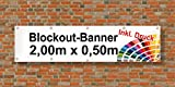 Premium Banner 900g/m² | Werbebanner / Werbeplane | 2m x 0,5m | blickdicht | inklusive Ösen | brillanter Druck - besonders stabil - wetterfest | einseitig mit Ihrem Motiv bedruckt