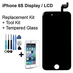 Display LCD Komplett Einheit Touch Panel für Apple iPhone 6S 4,7 Zoll Schwarz Ersatz Glas + Opening Tool Werkzeug