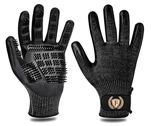 F® FLLUFFY Fellpflege-Handschuhe für Katzen Pferde Hunde, 2er-Pack Fellpflege Handschuh - Bürste für Katze Pferd Hund - Schwarz - L Schwarzen Handschuhen