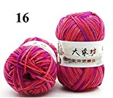 #10: Newest range of Milk Cotton Blended Worsted weight 5Ply Yarn (Pack of 2) each 50 Grams Beautiful Mixed color for Crocheting/ Hand Knitting, Sweater, Baby Clothes, Doll, Blanket, Hats Socks and various other craft projects etc…Shade No - 16
