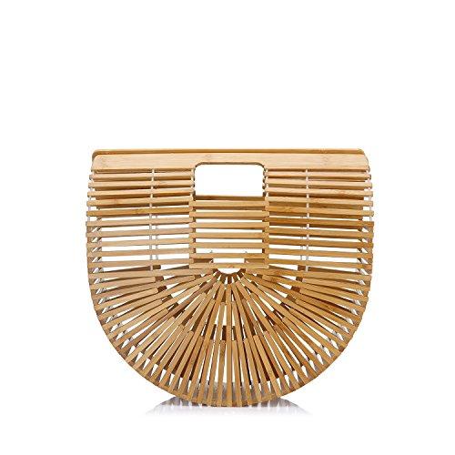 LOVEVOOK Damen Handtasche Bambus Handgefertigt Einkaufstasche Geflochtene Tasche Strandtasche Handgelenkstasche Kunst Tote Designer Groß