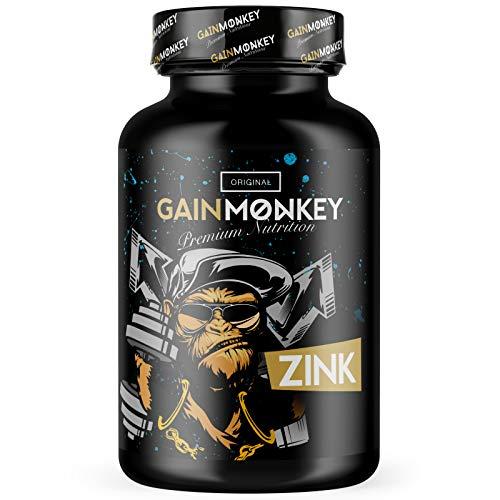 Original GAINMONKEY ZINK 25 mg Tabletten | Premium Zinktabletten als Nahrungsergänzung | ohne unerwünschte Zusätze | 90 Zinc Kapseln Hochdosiert und 100{b0e22f151cf487ec3df5f206c573c5f78c0d409cfba0c8a74587c358ac83ae34} rein