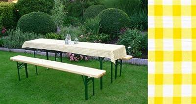 Auflagen Set für Festzeltgarnitur mit 50cm + 70cm Tisch, gelb-kariert