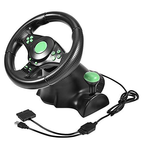 Eboxer Gaming Vibration Racing Lenkrad (23 cm) mit gefederten Pedalen für Xbox 360/PS2/PS3/PC, USB