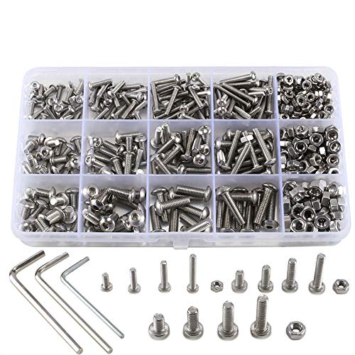 ManYee 500pcs kit tuerca hexagonal de tornillo, hexagonal redondo M3 M4 tornillo...