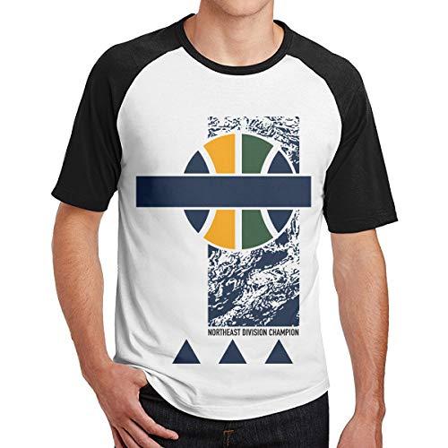 Bestimmte Utah Northeast Division Champion 2017 Männer Kurzarm Baseball T-Shirts New Jersey Netze T-Shirt Männer Utah Jazz Logo T_Shirts Für Männer Schwarz XXL (Jazz Logo Utah)
