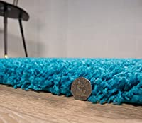 Teal Blue Luxurious Thick Shaggy Rugs 7 Sizes Available, by The Rug House