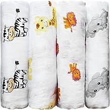 CuddleBug - Amigos de la Selva - Muselinas Pack de 4, Mantas de Muselina de Algodón, Paños de Muselina para Bebés Calidad, Garantía de por Vida